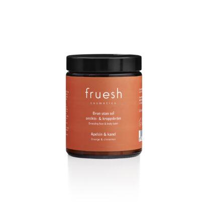 Fruesh Cosmetics Brun utan sol ansikts- och kroppskräm apelsin och kanel