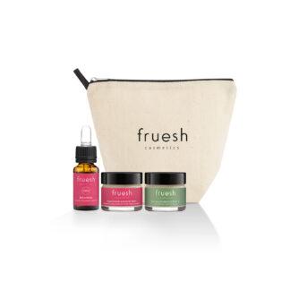 Fruesh Cosmetics travel set för ansiktet med en tygnecessär